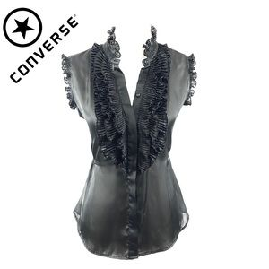 Converse One Star Black Ruffle Top Blouse Size M